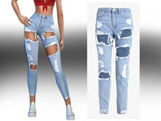The Sims 4 High Rise Ultra Ripped Jeans The Sims 4 Pc, Sims Four, Sims Cc, Boyfriend Jeans, Womens Ripped Jeans, Women's Jeans, High Jeans, Jeans Women, Sims 4 Piercings