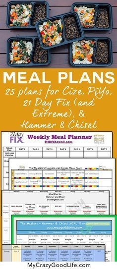 These meal plans are compatible with the 21 Day Fix, Hammer and Chisel, PiYo, and Cize–all of the Beachbody programs!