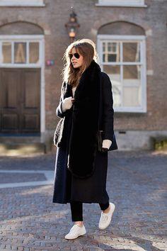 Christine R. - Cos Coat, Céline Bag, Superga Sneakers - Bare ankles