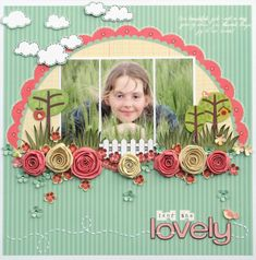 scrapbook, layout, rolled flower, clouds, melinda spinks