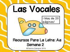 Fichas de vocales - Part of the Spanish Alphabet - Letter AEste paquete se enfoca en el sonido de la letra Aa. Esta comprando 24 paginas que se enfocan en palabras comunes que comienzan con A. Hay 8 paginas donde los alumnos recortan varias imagines de palabras que comienzan con Aa.