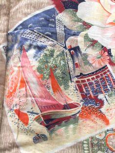 ☆ New Arrival ☆ 'Bon Voyage' #womens #antique #cotton #Japanese #padded #vest with #kasuri #ikat & #floral #design from #FujiKimono http://www.fujikimono.co.uk/fabric-japanese/bon-voyage.html  #textile #costume #kawaii #cosplay #folktextiles #indigo