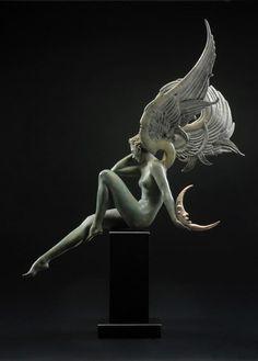 Michael Parkes - Moonstruck / Contemporary / Cast-Sculpture in Bronze by tasha Statue Ange, Art Nouveau, Arte Obscura, Art Sculpture, Metal Sculptures, Abstract Sculpture, Wow Art, Art Deco Design, Amazing Art
