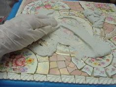 BROKEN CHINA MOSAIC HOW TO: HOW TO GROUT YOUR MOSAIC SURFACE and many other related instructions on this blog