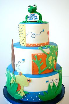 Neat background for the frog cake!