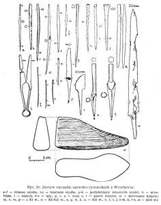 """Set of tools used by saddlers/shoemakers found in Wrocław, Poland. Culture: Slavic (West Slavs - early Polish state - Silesian Piasts) Timeline: 11th-13th centuries Source: Agnieszka Samsonowicz """"Wytwórczość skórzana w Polsce wczesnofeudalnej"""", 1982."""