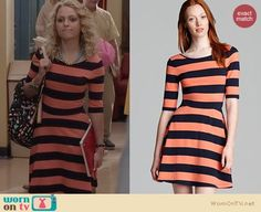 Carrie's orange and navy striped dress on The Carrie Diaries. Outfit Details: http://wornontv.net/23134/ #TheCarrieDiaries