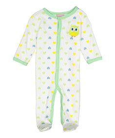 White & Green Heart Owl Footie - Infant