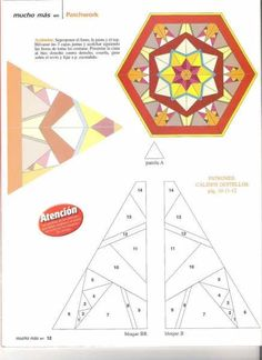 Mucho mas en Patchwork - Johanne L M - Álbuns da web do Picasa Patchwork Quilting, Paper Pieced Quilt Patterns, Barn Quilt Patterns, Quilting Tips, Pattern Blocks, Paper Quilt, Quilt Art, Iris Paper Folding, Kaleidoscope Quilt