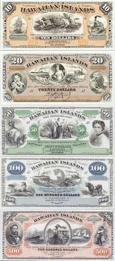 Hawaii: 10 Dollars (1880), 20 Dollars (1879), 50 Dollars ND(1879), 100 Dollars… Money Sign, Money Notes, American Coins, Old Money, World Coins, Rare Coins, Old Paper, Historical Pictures, Coin Collecting