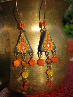 charcoal and orange  polymer clay earrings by HemalataHandcrafted, $26.00
