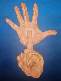 Painting by deaf artist Chuck Baird (USA). Image description: two disembodied hands against a blue background. The top hand is open, fingers outstretched, with the palm facing the viewer. The palm is bisected by the pointer finger of the lower hand, which is otherwise clenched into a fist.
