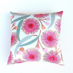 Pink Cushion. Australian Designer. Wildflower Print. Eucalyptus Leaves. Pink Blossoms. Seed Pods. Pink Grey Tan. Floral  Cushion. Her Gift.