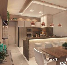 Iniciando as inspirações de domingo com essa cozinha gourmet maravilhosa! 😱💗 ✔️Projeto AT Arquitetura #Kitchenideas