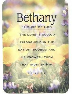 Bethany - Meaning of Bethany - Name Cards with Scripture - Pack of 3 by Universal Designs. $2.00. Great for scrapbooking, crafting, or for inserting in birthday cards or birth announcements.