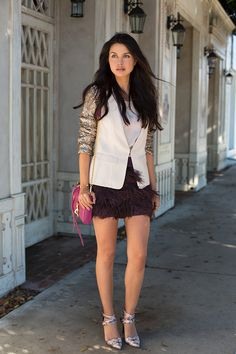 fur skirt with chic top