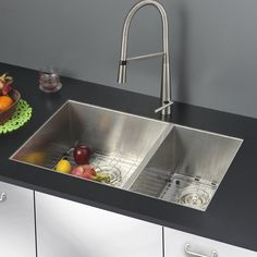 Picking a kitchen sink is a huge part of kitchen restoration. From typical top-mount sinks to newer, trendier devices like the reduced divider panel sink, think about which sort of sink suits your . Read Basic Kitchen Sink Types Ideas You Must Know Steel Kitchen Sink, Double Bowl Kitchen Sink, Basic Kitchen, New Kitchen, Kitchen Sinks, Condo Kitchen, Simple Furniture, Deco Furniture, Industrial Furniture