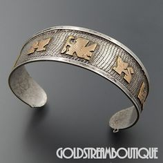 AZTEC MAYA INCA 925 SILVER AND 18 KT GOLD LADIES CUFF BRACELET MADE IN PERU #PERU