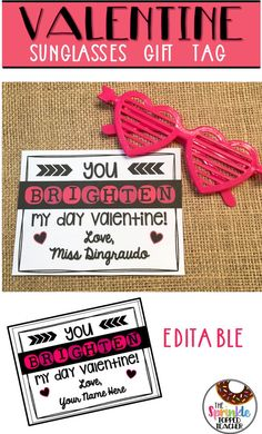 Easy Valentine& Day sunglasses gift tag for students! Valentine& Day gift is also editable! Found the sunglasses at Target! Teachers Day Gifts, Student Gifts, Gifts For Teens, Teacher Gifts, Teacher Valentine, Valentines Day Party, Valentine Day Gifts, Trending Christmas Gifts, School Holidays