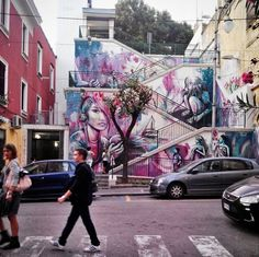 Vibrant Staircase Mural by Alice Pasquini in Salerno, Italy (8 pictures)