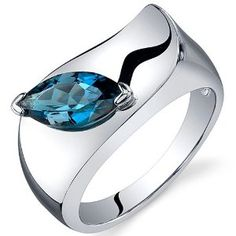 Musuem Style Marquise cut London blue topaz ring in sterling silver rhodium finish