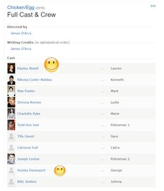Chicken/Egg is finally in the IMDB... Hayley Atwell is in it and James' adorable nephew as well!!