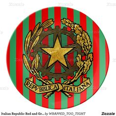 Italian Republic Red and Green Stripe Dinner Plate  italian style decor dinner parties dinner plates dinnerware