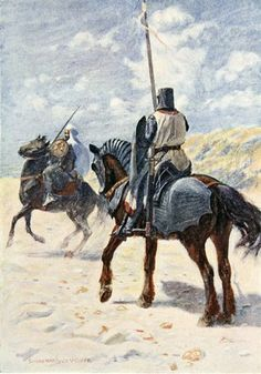 A Saracen approaches a Crusader Knight illustration for The Talisman A Tale of the Crusaders by Sir Walter Scott by Vedder Simon Harmon - Reproduction Oil Painting Crusader Knight, Templer, Château Fort, Medieval Knight, Medieval Armor, Knight Art, Military Art, Military Uniforms, Military History