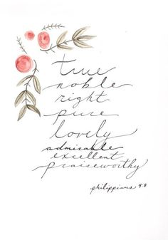 Philippians 4:8 | Vertical Watercolor Print by GoldenfieldsCreative Favorite  shop on Etsy