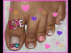 Decoración de uñas Corazones /heart nail art - YouTube Pedicure Designs, Toe Nail Designs, Toe Nail Art, Toe Nails, Natural Nails, Manicure, Lily, Pedicures, Color