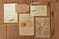Beautiful travel themed wedding invitations