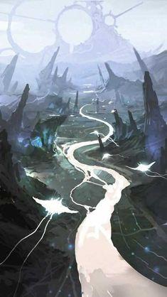 27 ideas fantasy landscape paintings sci fi for 2019 Arte Sci Fi, Sci Fi Art, Fantasy Landscape, Landscape Art, Landscape Paintings, Fantasy Kunst, 3d Art, Fantasy Setting, Environment Concept Art