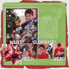 A layout shared in the Scrap Girls newsletter showcasing our gift-giving tradition of giving the kids four gifts at Christmas time: A want, a need, a surprise and a read.