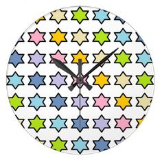 Black Outlined Pastel Rainbow 6 Point Stars Large Clock - white gifts elegant diy gift ideas