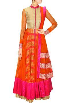 Pink and Orange anarkali lehenga set – Panache Haute Couture