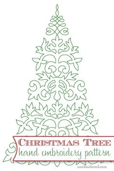 Embroider a Christmas tree! Here's a free hand embroidery pattern with lots of stitching possibilities! Click through for the PDF printable: