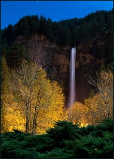 Multnomah Falls under an Autumn Moon, Columbia Gorge, Oregon, United States