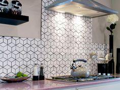 Lighting and Backsplash - Kitchen Design Tips From HGTV Stars on HGTV- diamond pattern tile with black grout