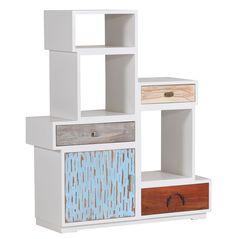 Regal Loft mit 3 Schubladen und 1 Türe, teilmassiv