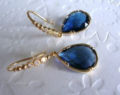 Blue Dangle Earrings Blue Sapphire Earrings by 2010louisek7