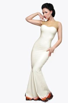 Not many can wear latex gowns, but for those rare fetish events (and those with the body to pull it off), this is lovely and classy. Especially if you take off the color on the bottom and make the whole thing solid.      Valentina Gown. €238,00, via Etsy.