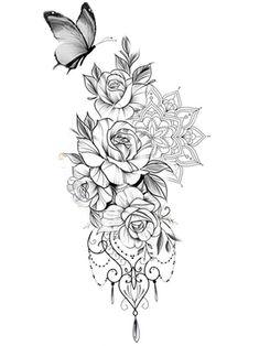 Sunflower Mandala Tattoo, Mandala Thigh Tattoo, Mandala Flower Tattoos, Simple Mandala Tattoo, Neue Tattoos, Bff Tattoos, Body Art Tattoos, Floral Tattoo Design, Mandala Tattoo Design