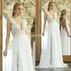 Emanuel 2016 Sexy Summer Beach Wedding Dresses See Through Applique Lace Chiffon A-Line Backless V-Neck Cap Sleeve Plus Size Bridal Gowns Online with $128.17/Piece on Sweet-life's Store | DHgate.com