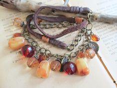 Beaded bracelet / necklace, Rustic bracelet / necklace, Bohemian jewelry, Ethnic bracelet,  bracelet / necklace vintage czech beads, by boele on Etsy