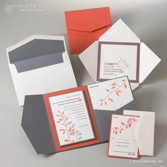 Contemporary Grey And Coral Leaf Custom Wedding Invitations, Perfect Colors
