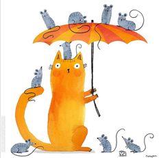 Cat Umbrella, Cute Fantasy Creatures, Cat Mouse, Cat Art, Tweety, Illustration, Disney Characters, Fictional Characters, Kitty