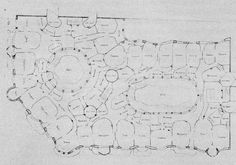 [One of] two of Gaudi's original schematic floor plans for the Casa Mila: the third floor with its many irregular rooms and curving corridors.Antonio Gaudi by George R. Collins...