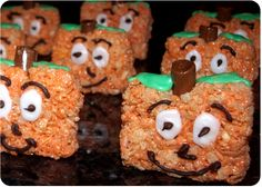 The perfect treat for Halloween! Spookley the Square Pumpkin rice crispy treats. For adults, who have never read Spookley, make round ones.