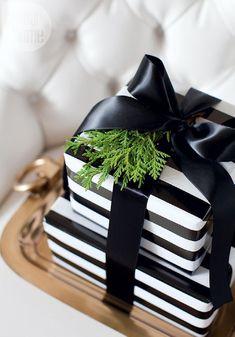 Black and white stripe Christmas wrap idea