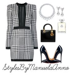 """Untitled #136"" by stylesbymanuelaanno on Polyvore featuring Balmain, Harry Winston, Fantasia by DeSerio, Christian Louboutin, Christian Dior and Chanel"